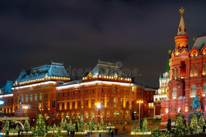 A instalação no quadrado de Manege, Rússia do Natal fotos de stock