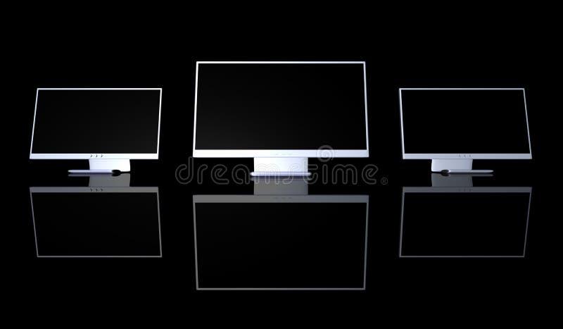Instalação tripla do monitor ilustração stock