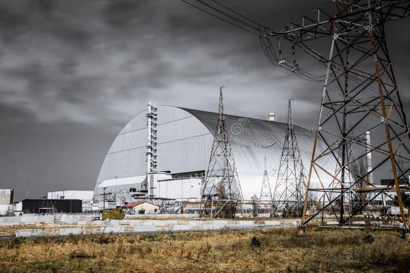 Instalações de produção do central nuclear de Chernobyl, Ucrânia Quartas unidade de poderes de emergência e zona de exclus fotografia de stock royalty free