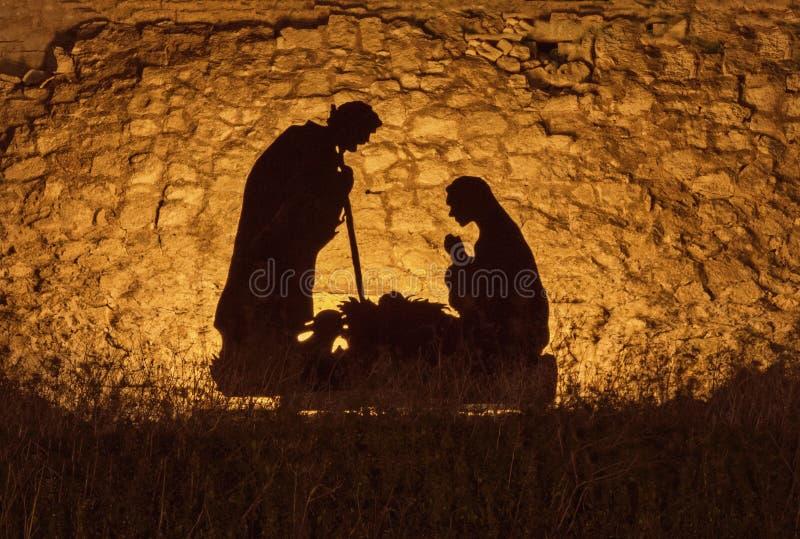 Instalación de la Navidad en el tema del nacimiento de Jesus Christ imágenes de archivo libres de regalías
