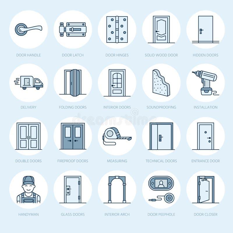 Instalación de las puertas, línea iconos de la reparación Diversos tipos de la puerta, manija, cierre, cerradura, bisagras El dis ilustración del vector