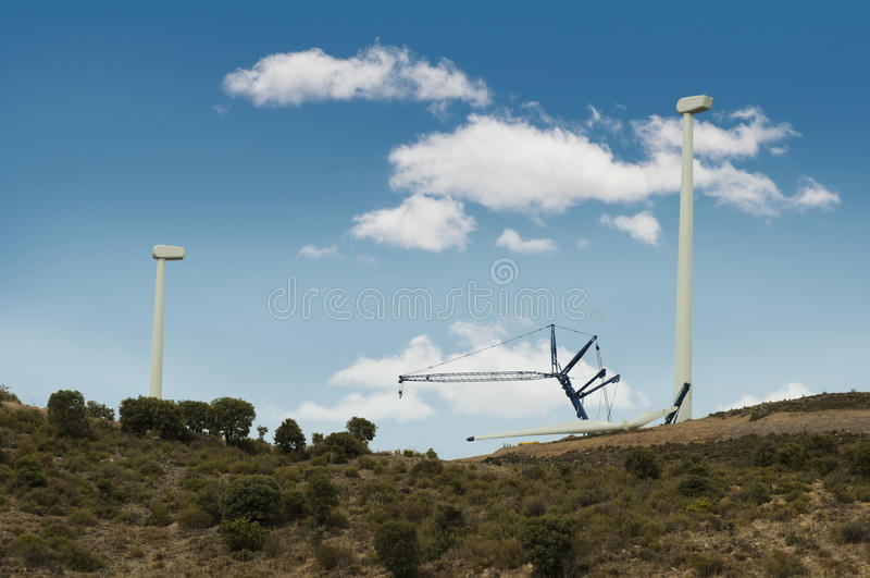 Instalación de las turbinas de viento fotos de archivo
