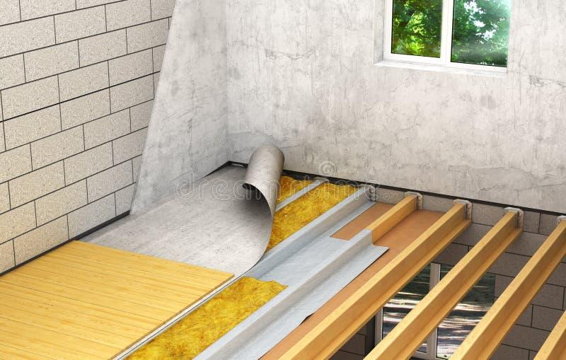 Instalación de pisos de madera entre los pisos: tecnología detallada de la construcción 3d libre illustration