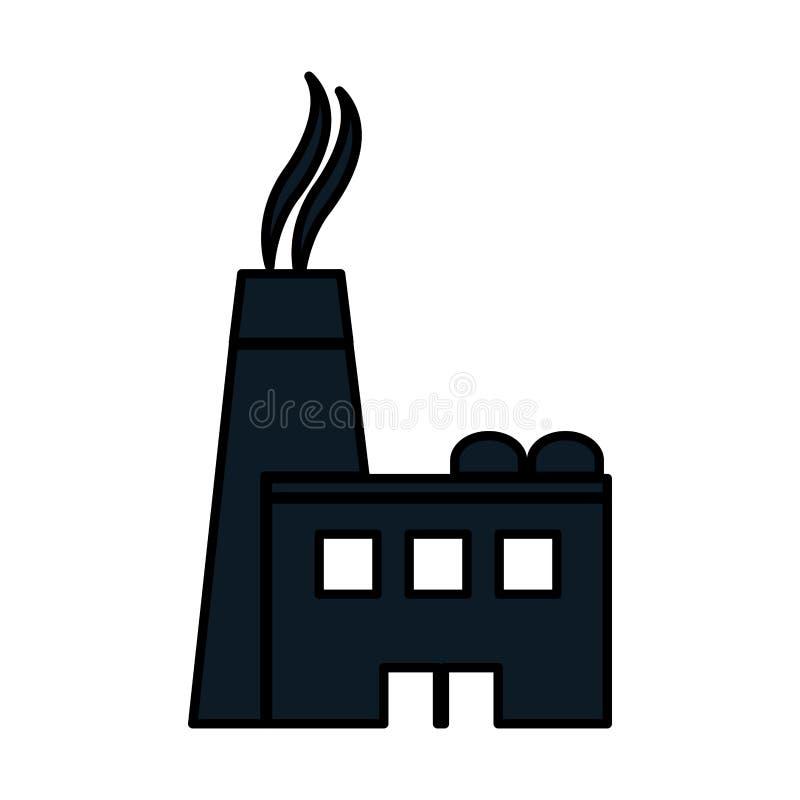Instalación de producción de la fábrica de la industria del pictograma del color stock de ilustración