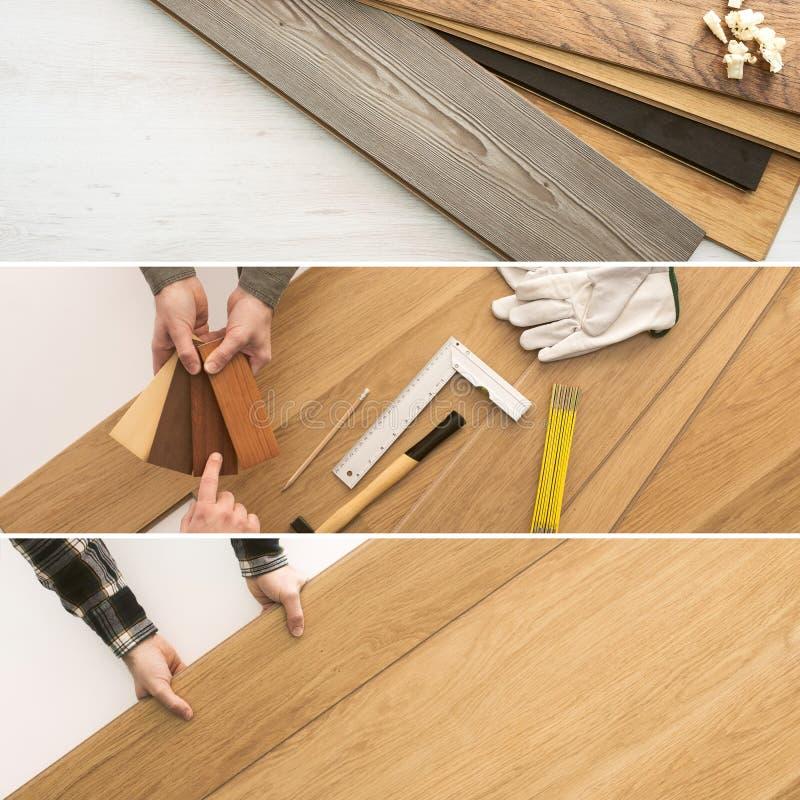 Instalación del suelo en casa foto de archivo