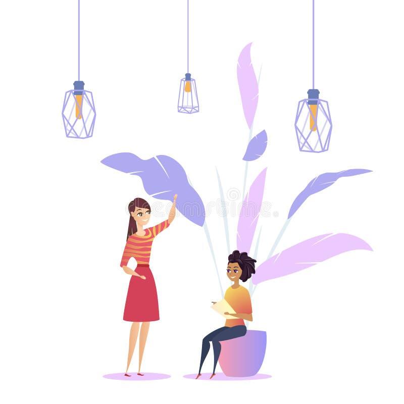 Instalación moderna Coworking del desván del lugar de trabajo de la mujer libre illustration