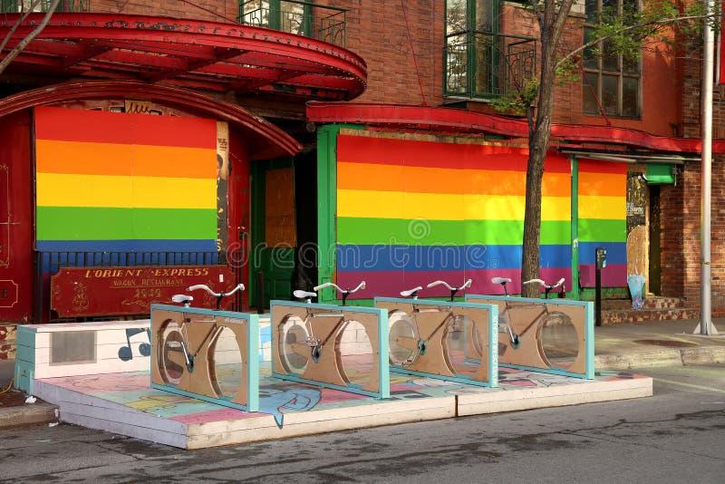 Instalación musical de la bicicleta en Montreal fotografía de archivo libre de regalías
