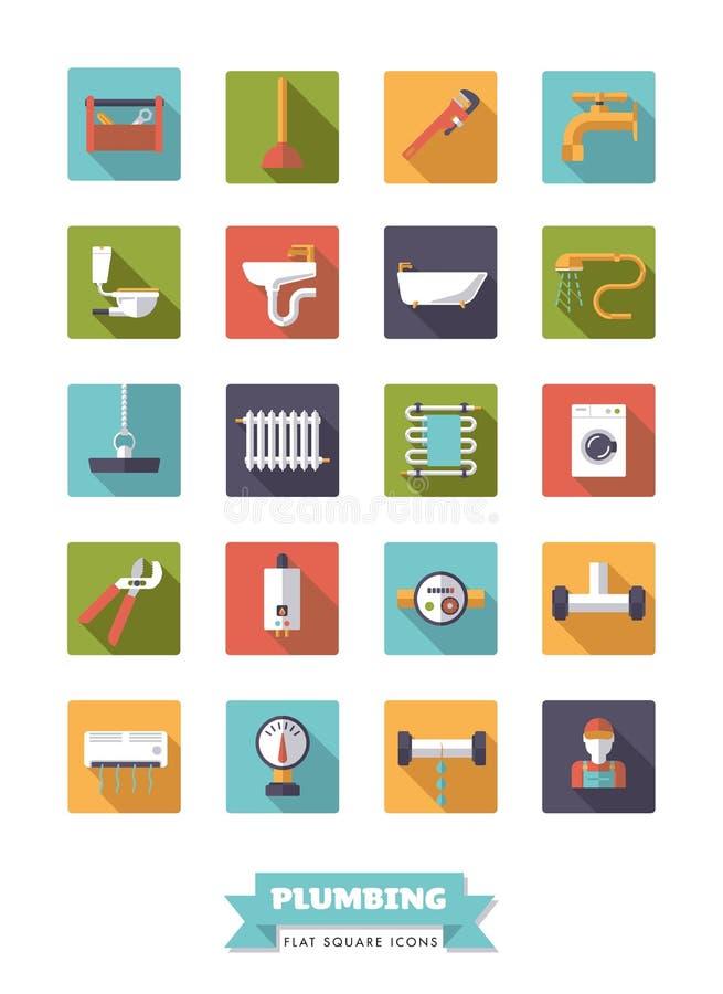 Instalaci wodnokanalizacyjnej i łazienki wyposażenia projekta ikony płaski set royalty ilustracja