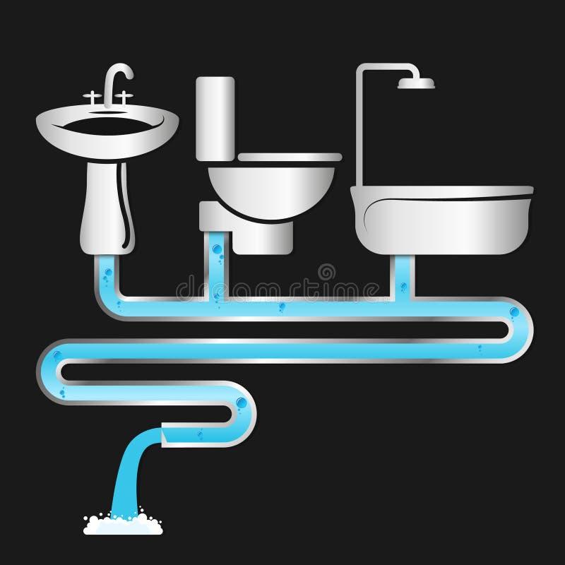 Instalaci wodnokanalizacyjnej i dostawy wody systemy royalty ilustracja