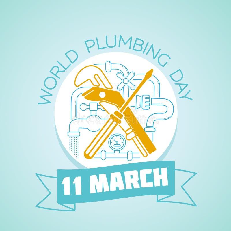 11 instalaci wodnokanalizacyjnej Marcowy Światowy dzień ilustracji