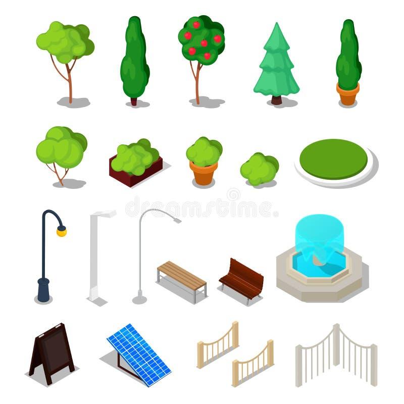 Instalaciones isométricas de la ciudad Diversa materia urbana con los árboles, banco, fuente libre illustration
