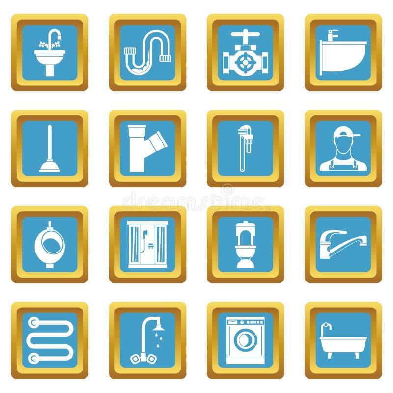Instalacj wodnokanalizacyjnych ikony lazurowe royalty ilustracja