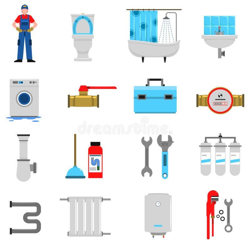 Instalacj wodnokanalizacyjnych ikony ustawiać ilustracja wektor