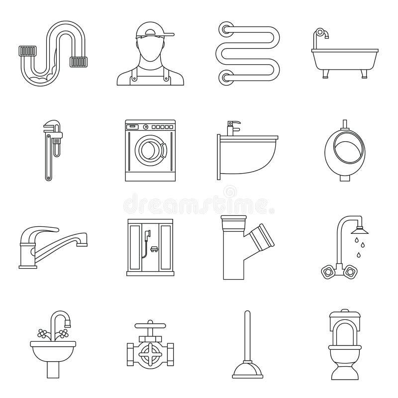 Instalacj wodnokanalizacyjnych ikony ustawiać, konturu styl ilustracji