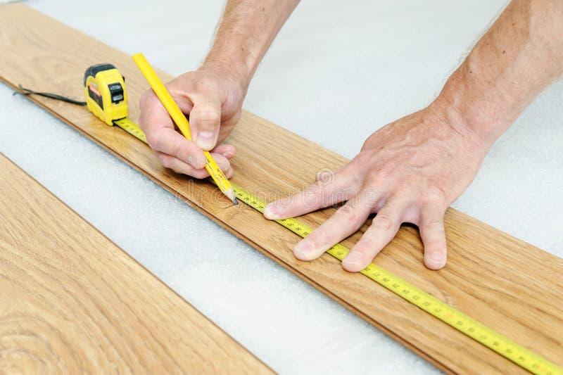 Instalacja laminata floorboard obraz royalty free