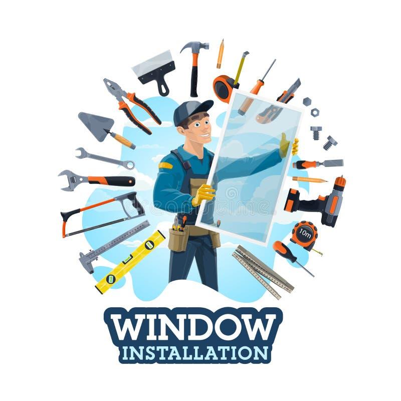 Instalacja okno, installer i pracy narzędzia, ilustracji