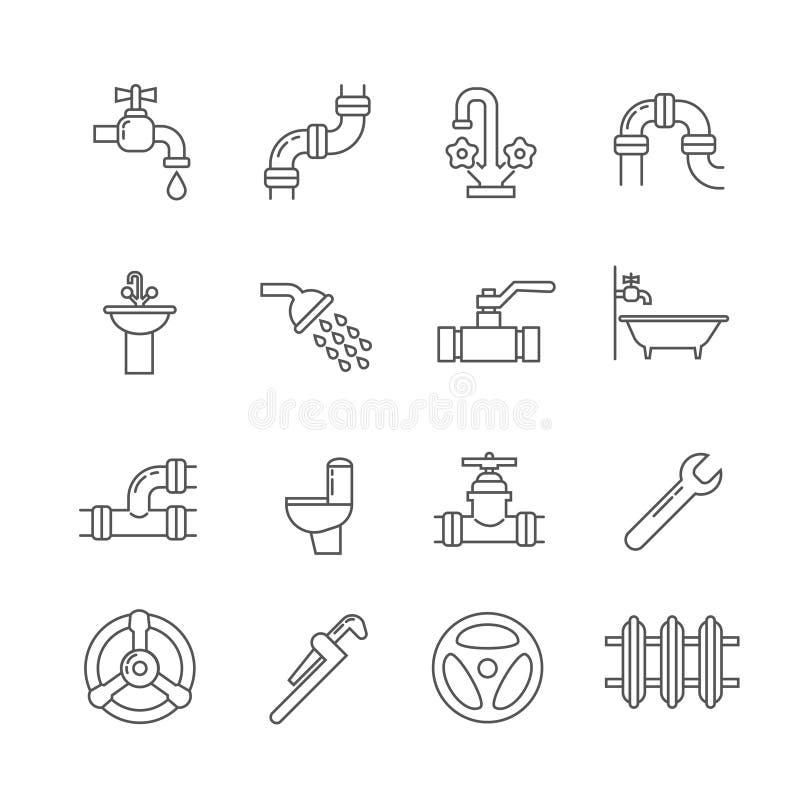 Instalacja wodnokanalizacyjna, kanalizacja, drymba, faucet cienkie kreskowe wektorowe ikony ustawiać ilustracji