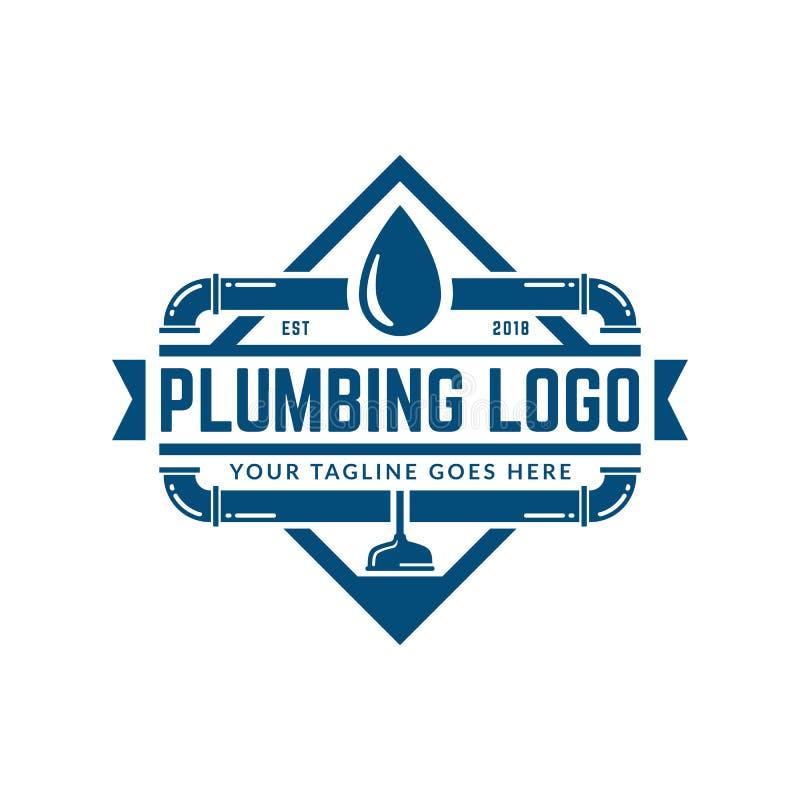Instalacja wodnokanalizacyjna logo szablon, łatwy dostosowywać royalty ilustracja