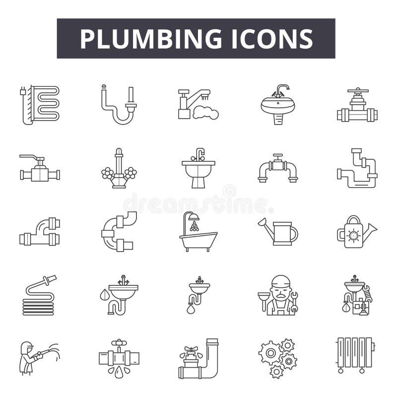 Instalacji wodnokanalizacyjnej linii ikony, znaki, wektoru set, kontur ilustracji pojęcie ilustracji