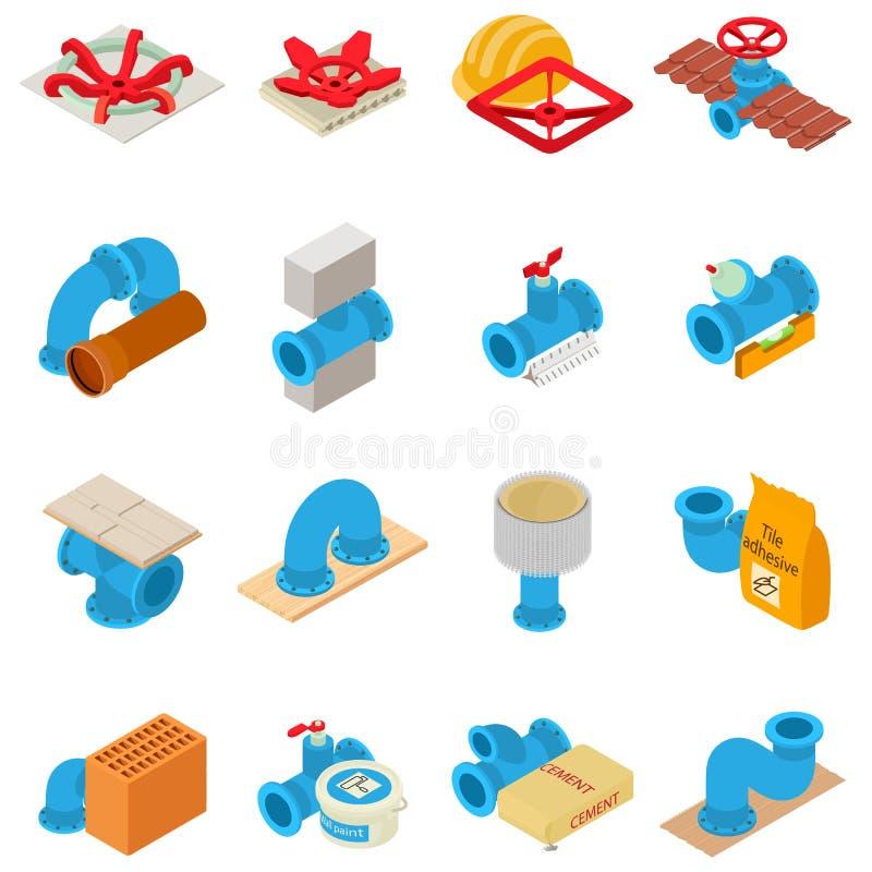 Instalacji wodnokanalizacyjnych ikony ustawiać, isometric styl ilustracji