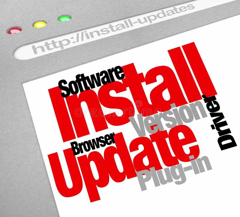 Instale transferências em linha do computador das atualizações do programa de software ilustração do vetor