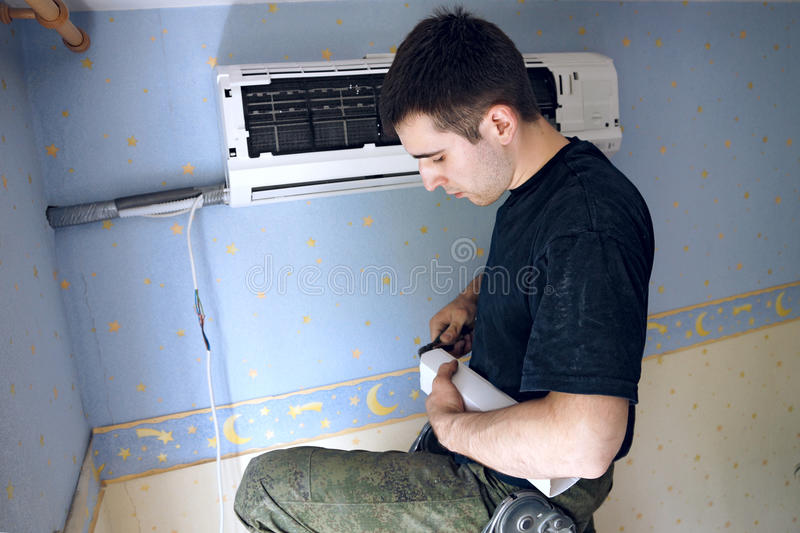 Install Air Conditioning Stock Photo