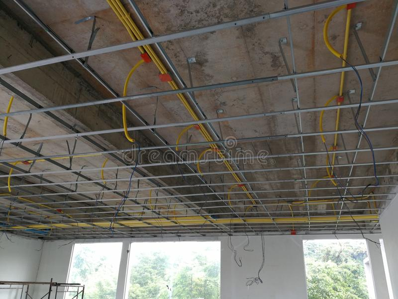 Install The Ceiling Frame And Wiring Pipe. Stock Photo - Image of ...