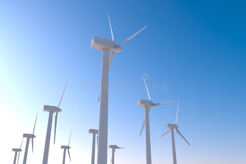 Install a lot of wind turbines. Generate electricity with the power of nature. 3D illustration. Install a wind turbine in consideration of the global environment stock illustration