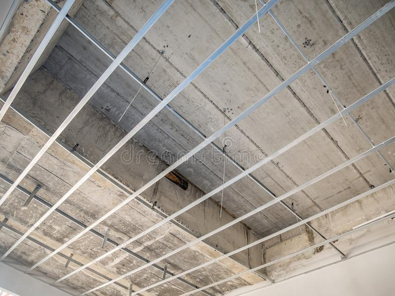 Install Metal Frame For Plaster Board Ceiling At House Stock Image ...