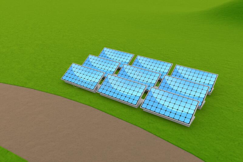 Installed solar panels. Generate electricity by receiving sunlight. 3D illustration royalty free illustration