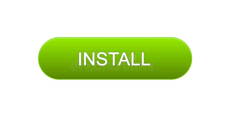 Install web interface button green color, application downloading, site design. Stock footage royalty free illustration