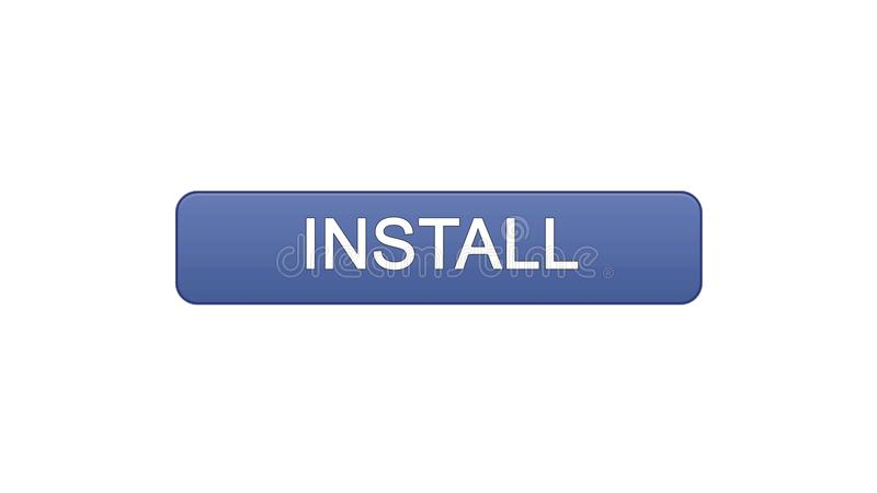 Install web interface button violet color, application downloading, site design. Stock footage royalty free illustration