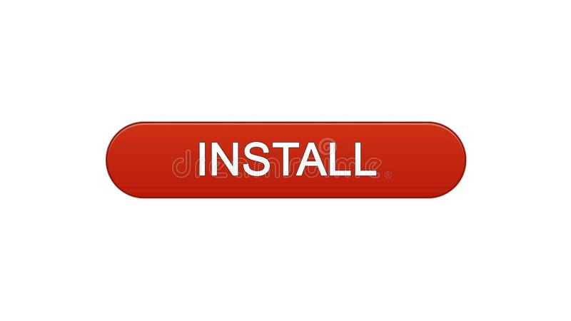 Install web interface button wine red, application downloading, site design. Stock footage vector illustration