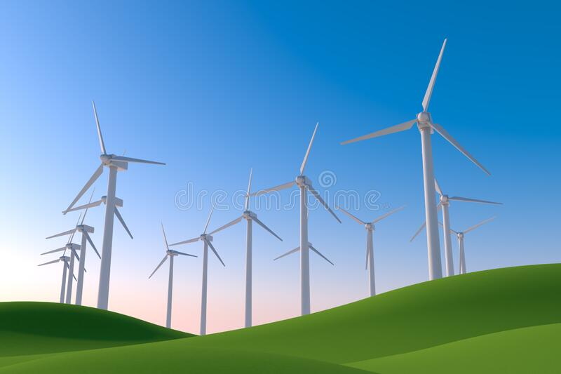 Wind turbines in nature. Natural green and blue sky. 3D illustration. Install a wind turbine in consideration of the global environment. Huge wind engine. The vector illustration