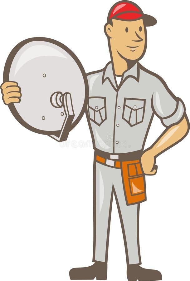 Installateur Guy Standing TV par câble illustration de vecteur