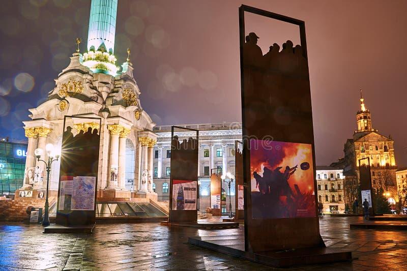 Installatie Hemelse Honderd herdenken en Revolutie die van Waardigheid op Maidan Nezalezhnosti in Kyiv, de Oekraïne stock foto's