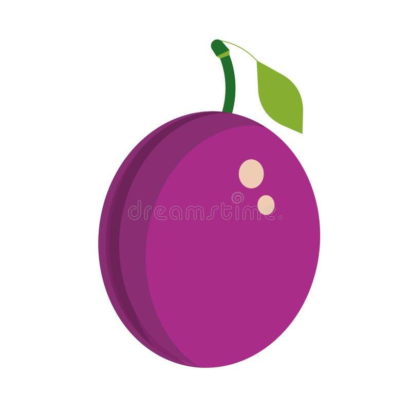Installatie van de pruim de purpere gezonde rijpe zomer Groen smakelijk dieet vectorpictogram De illustratie organische bes van h royalty-vrije illustratie
