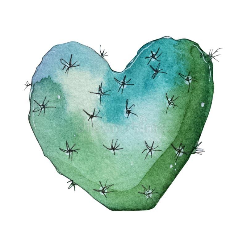 Installatie van de waterverf de met de hand geschilderde die cactus op witte achtergrond wordt geïsoleerd royalty-vrije illustratie