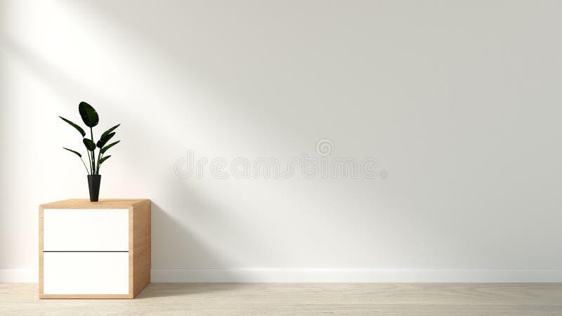 Installaties op kabinet in moderne lege ruimte Japanse stijl, minimale ontwerpen het 3d teruggeven royalty-vrije illustratie