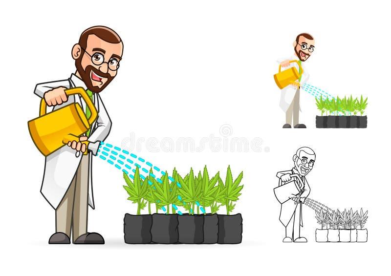 Installatiewetenschapper Cartoon Character Watering de Installaties royalty-vrije illustratie