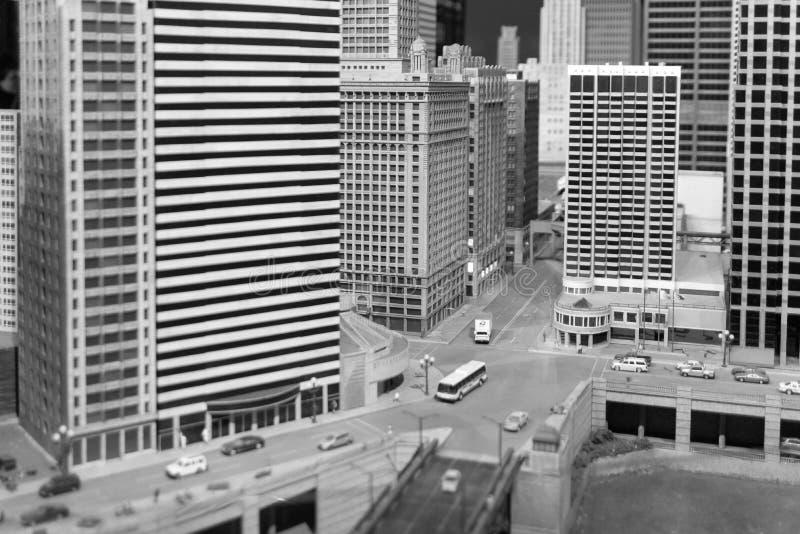 Installatio du centre miniature de bâtiments et de gratte-ciel de Chicago images libres de droits