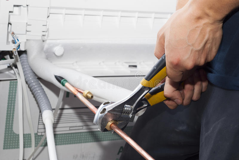 Installation of air conditioning royalty free stock image