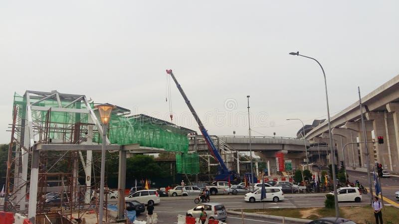 Installation av den nya bron royaltyfri fotografi