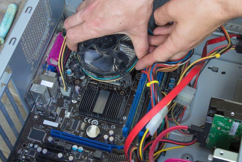 Installation av en datorkylareprocessor som installerar den svarta kylarefanen med på datorprocessorn royaltyfri foto