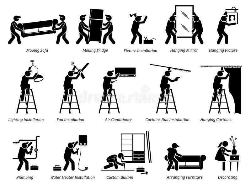 Installation av hem- fasta tillbehör och husgarneringsymboler stock illustrationer