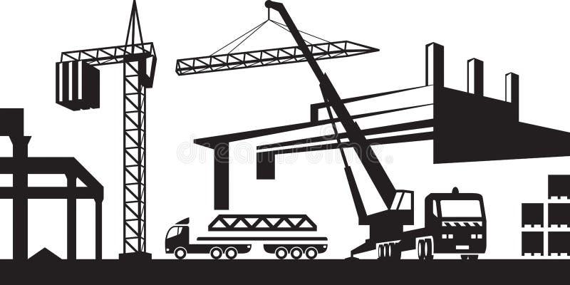 Installation av kranen på konstruktionsplats vektor illustrationer