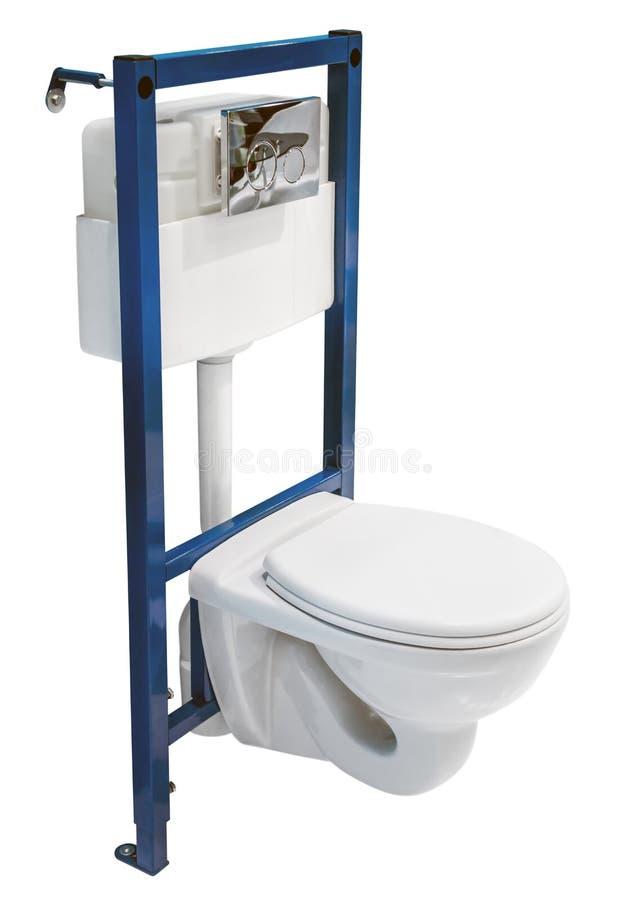Installation av toaletten och beh?llaren f?r att b?dda in i v?ggen royaltyfri foto