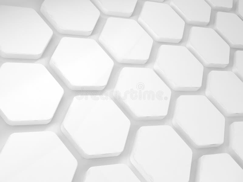 Installation blanche abstraite 3 d de nid d'abeilles illustration de vecteur