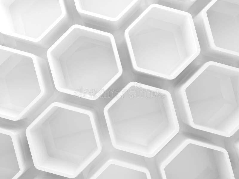 Installation blanche abstraite 3 d de nid d'abeilles illustration libre de droits