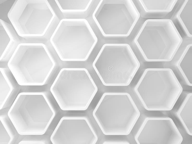 Installation blanche abstraite de nid d'abeilles, 3d illustration de vecteur